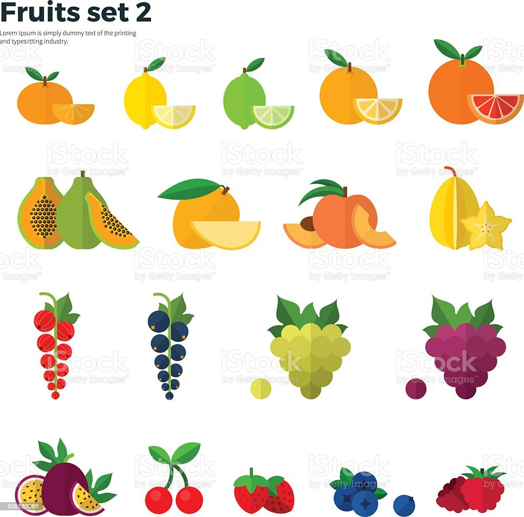 Healthy Concept Tropical Fruit on White Background vector art illustration