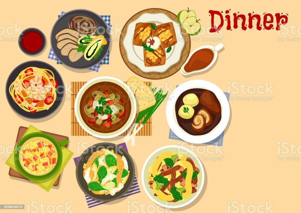 Healthy dinner icon for cafe menu design vector art illustration