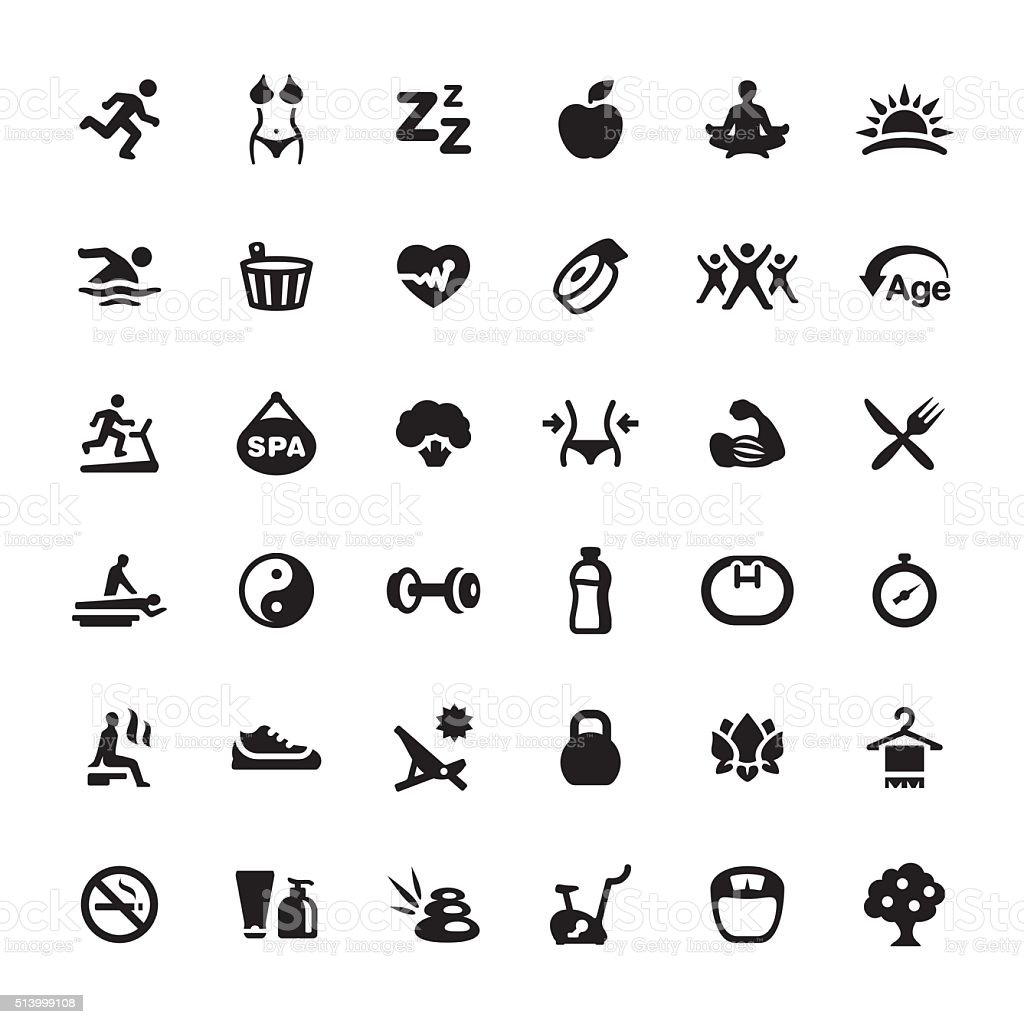 Healthy Eating And Lifestyle vector symbols and icons vector art illustration