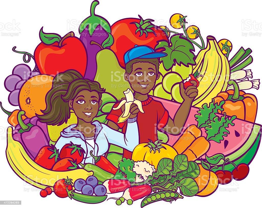 Healthy Eating Children Black royalty-free stock vector art