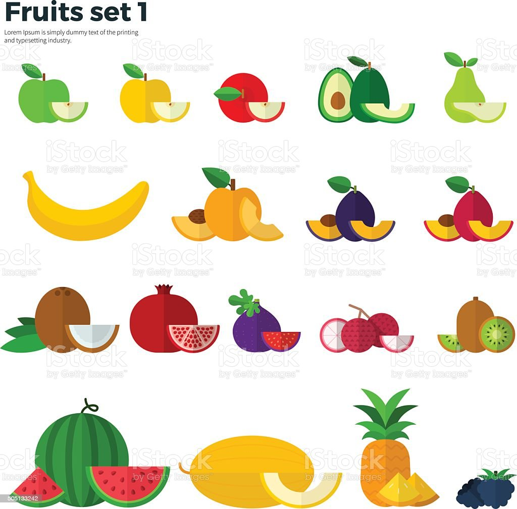 Healthy Eating Concept. Fruit and Slices on White vector art illustration