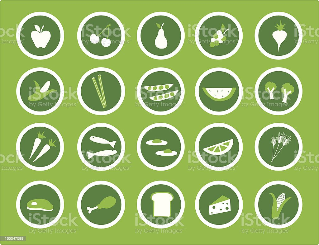 Healthy Eating Icons vector art illustration
