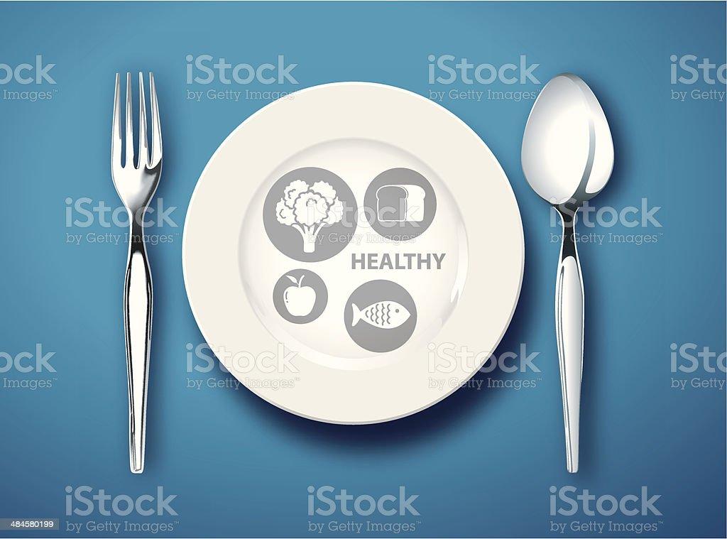Healthy Eating Plate vector art illustration
