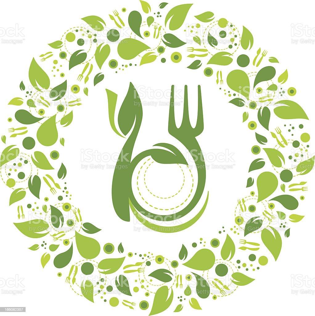 Healthy eating symbol garland vector art illustration