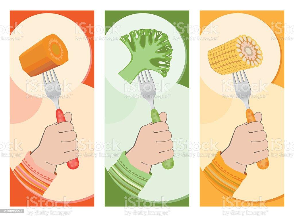Healthy eating.Print vector art illustration