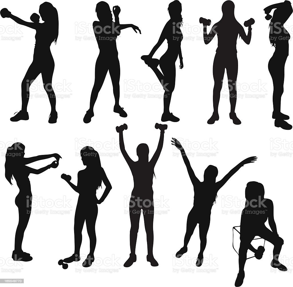 Healthy Exercise Silhouettes vector art illustration