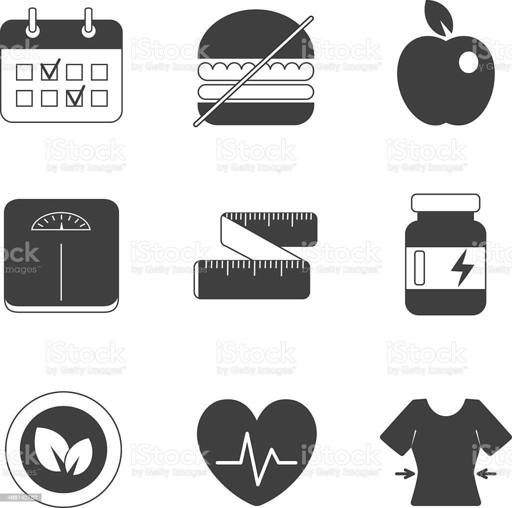 Healthy fitness diet icons set vector art illustration