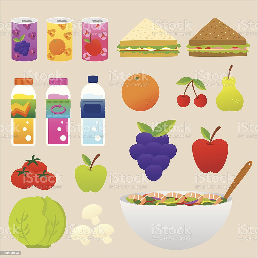 healthy food and drink set vector art illustration