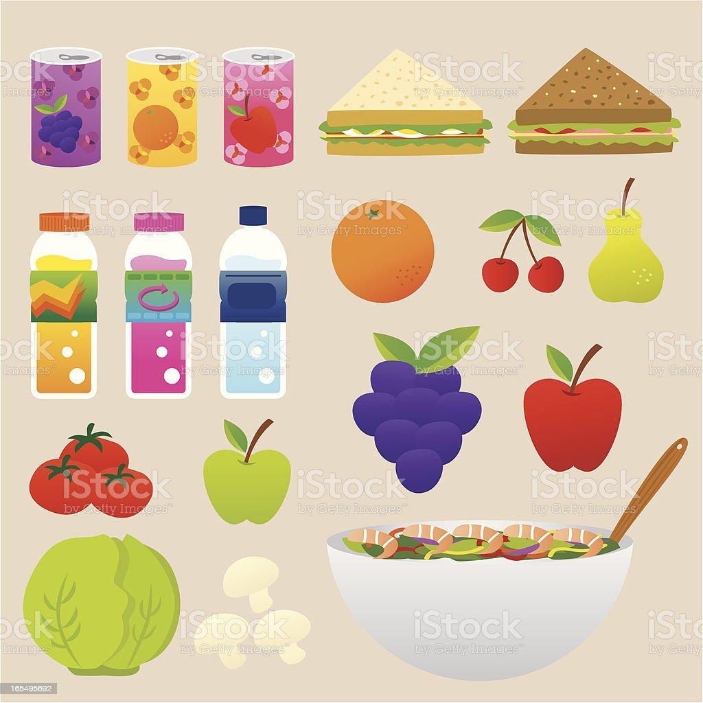 healthy food and drink set vector art illustration