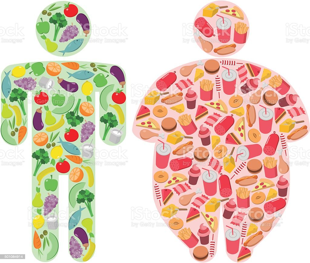 Healthy Food and Fatty Food and Human Figures vector art illustration