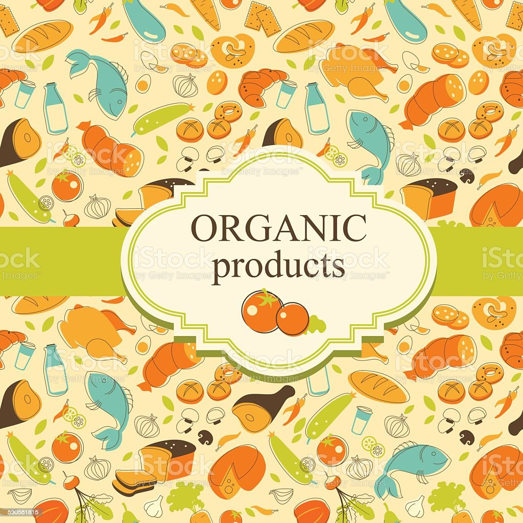 Healthy food background in doodle retro style vector art illustration
