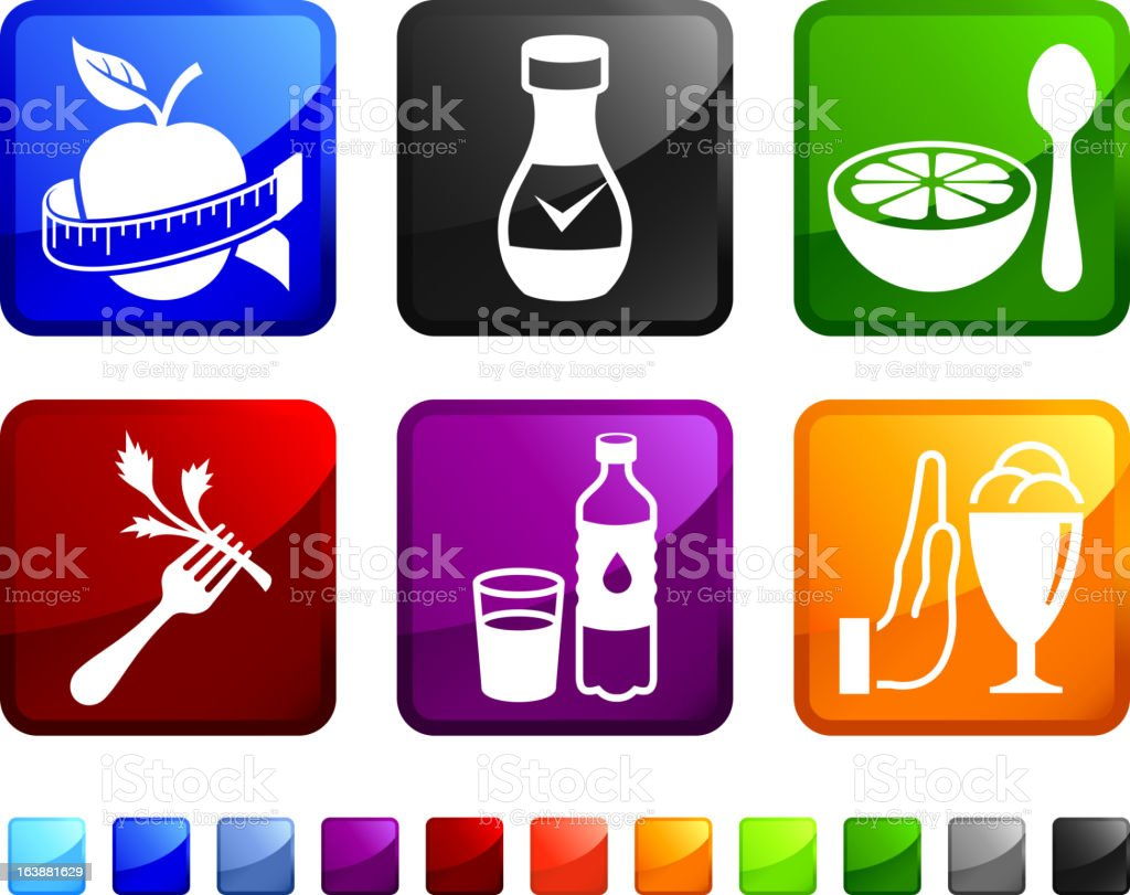 Healthy Food Choices and Life vector icon set stickers royalty-free stock vector art