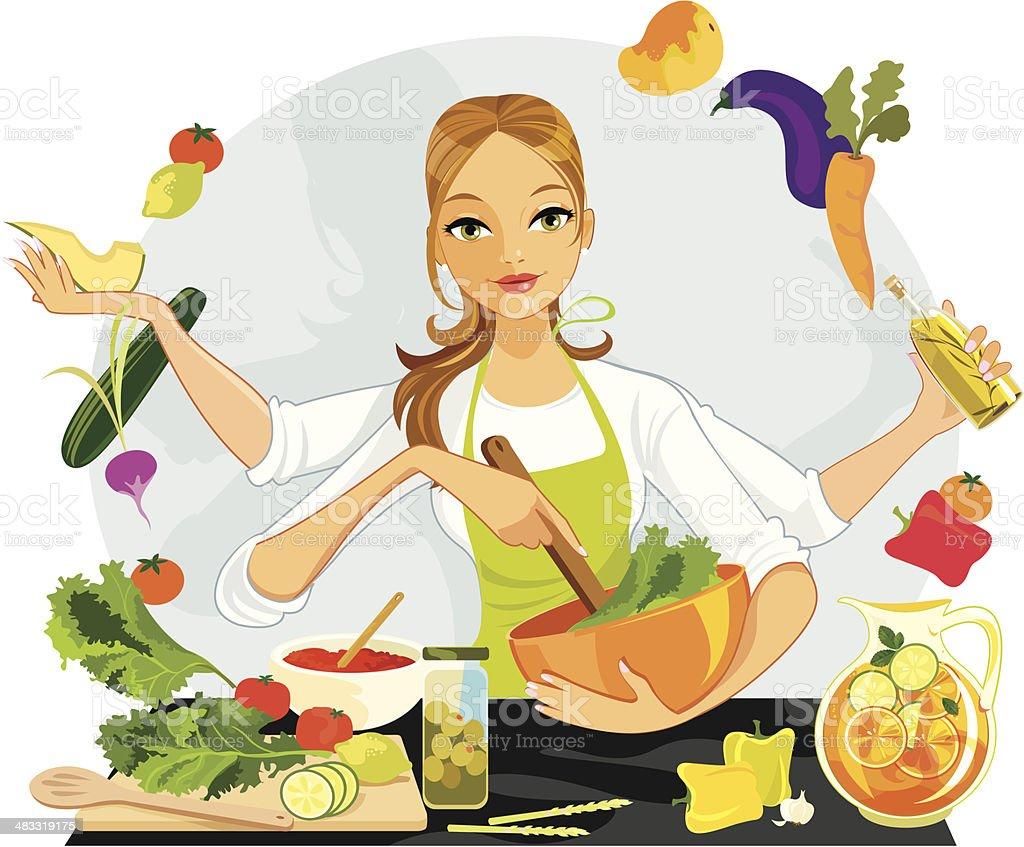 Healthy Food Choices vector art illustration