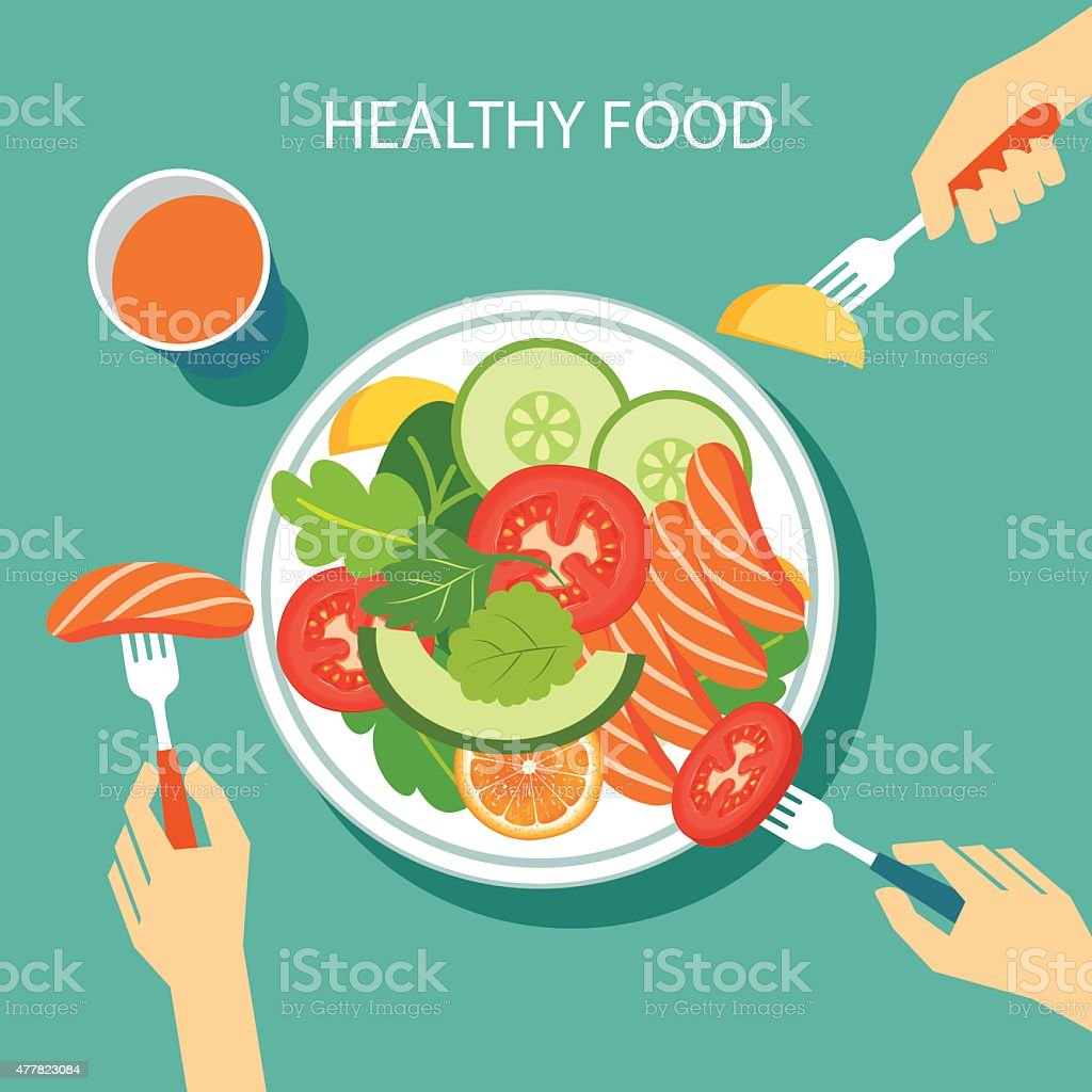healthy food concept flat design vector art illustration