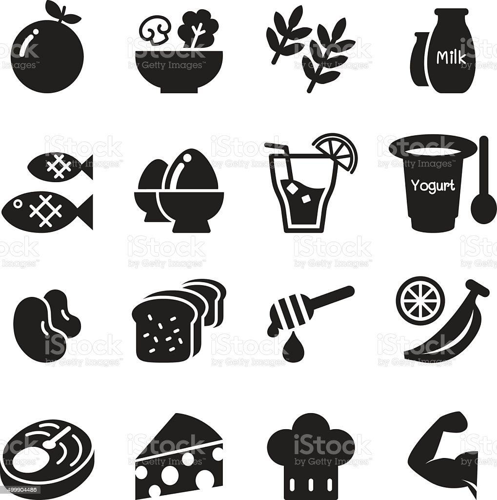 Healthy food & Diet food icons set Vector vector art illustration