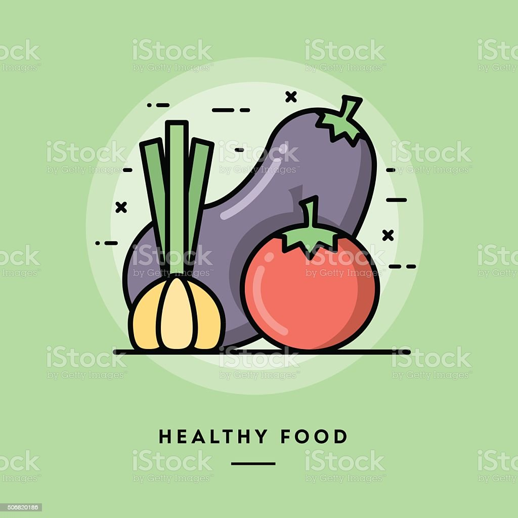 Healthy food, flat design thin line banner vector art illustration