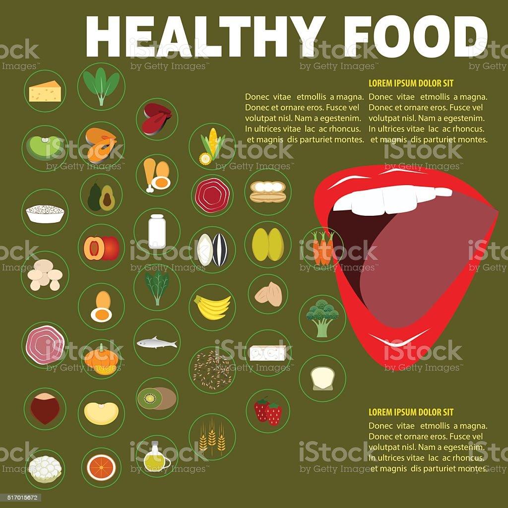 Healthy food for body vector art illustration