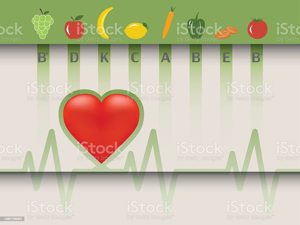 Healthy food for the heart vector art illustration