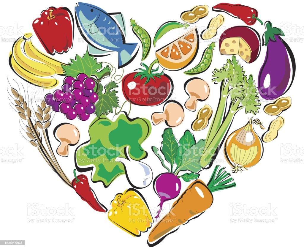 Healthy Food Heart vector art illustration