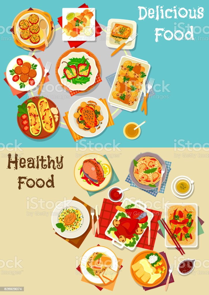 Healthy food icon set with baked dishes vector art illustration