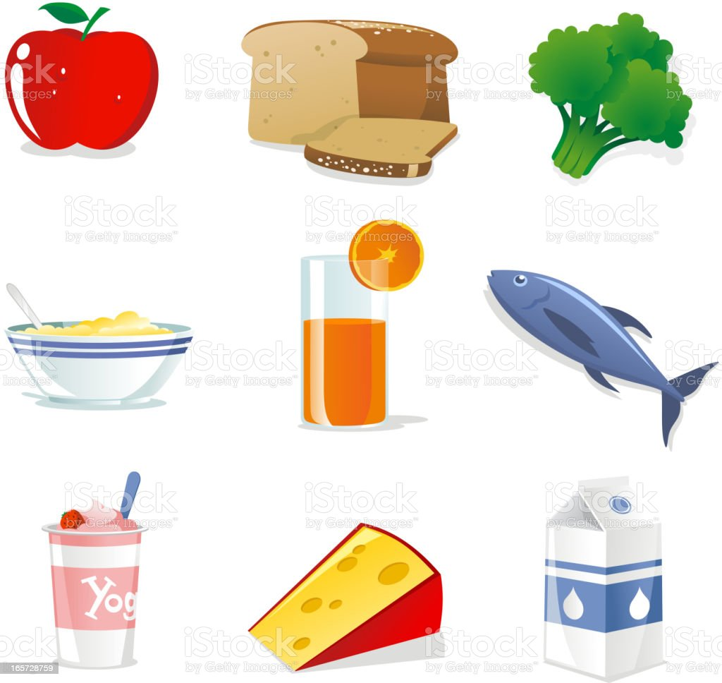 Healthy food icons set vector art illustration