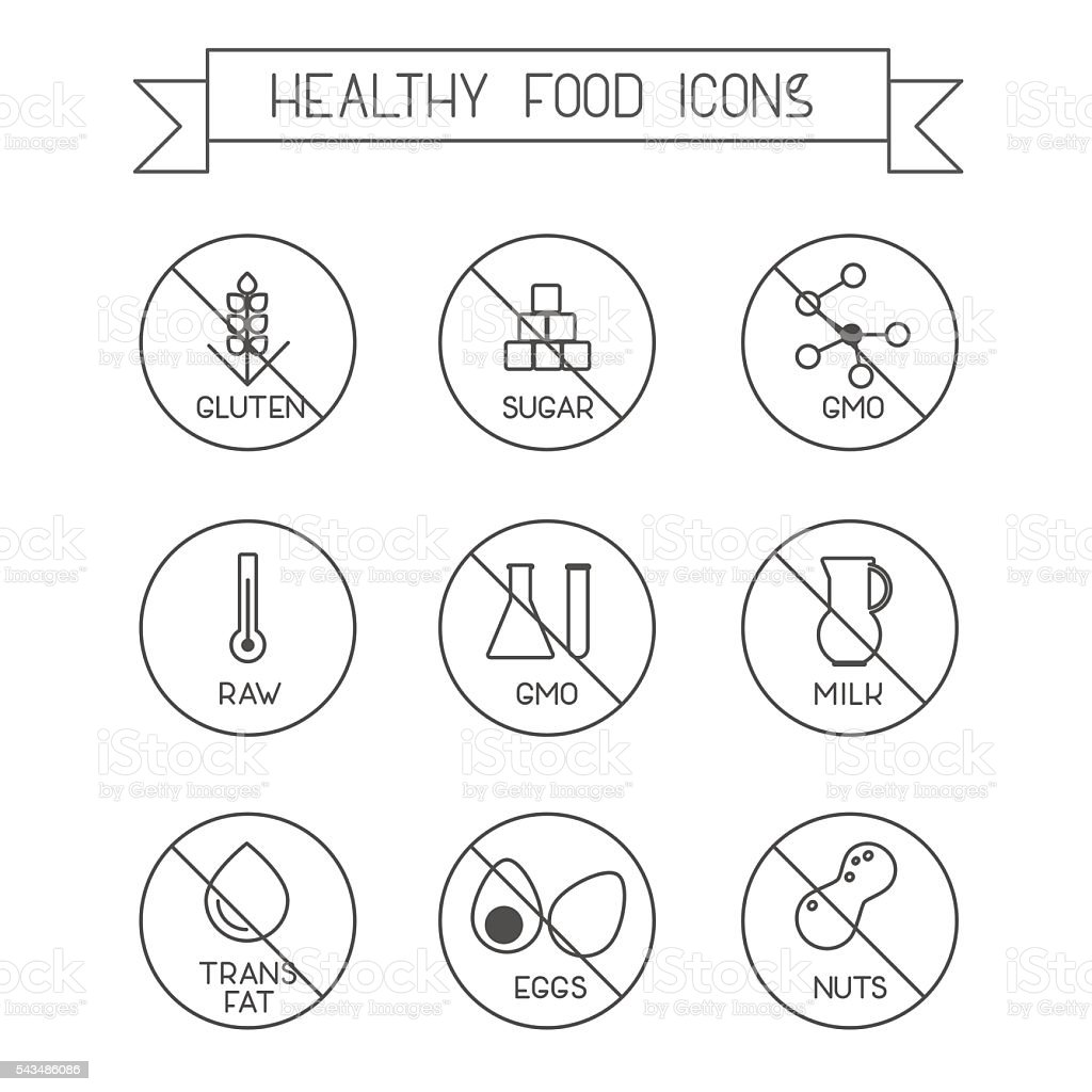 Healthy food icons vector art illustration