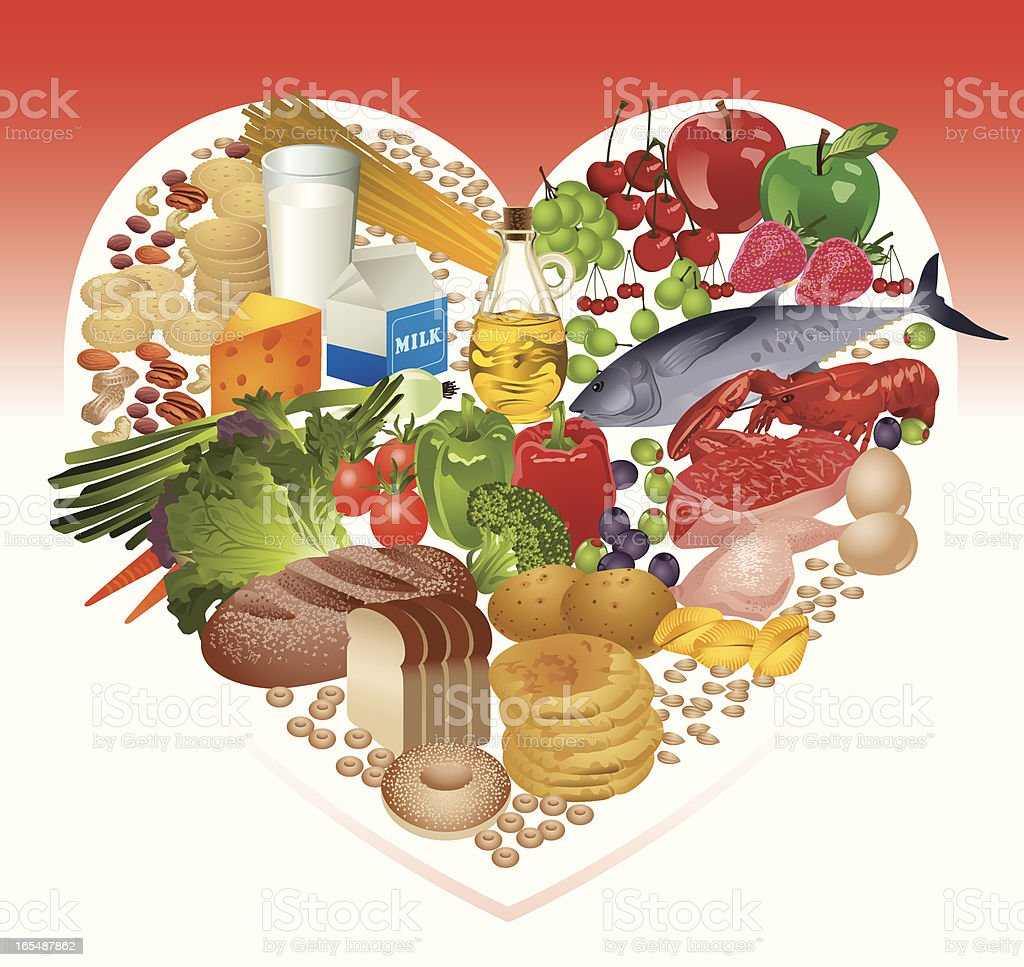 Healthy Food in Heart Shape Vector vector art illustration