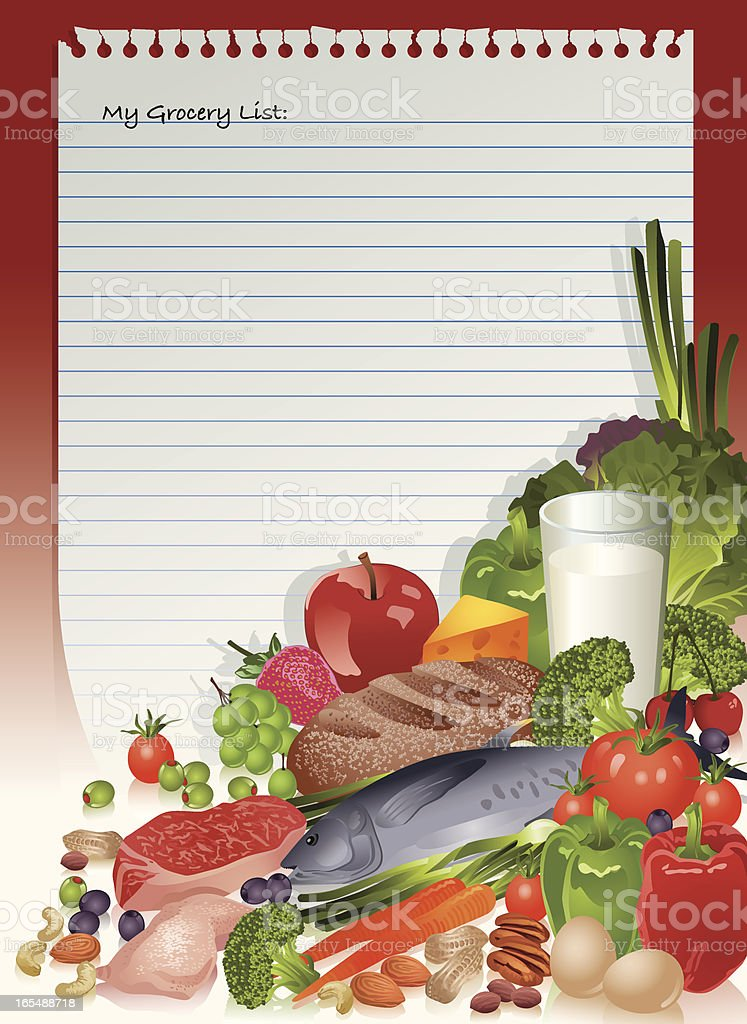 Healthy Food Staples on Grocery List Vector royalty-free stock vector art