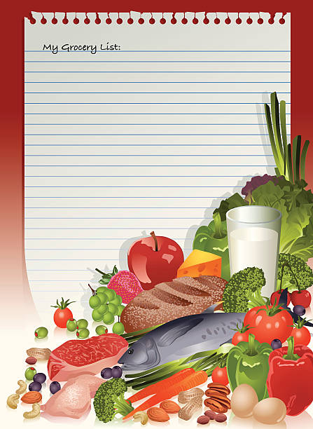 Gesunde Lebensmittel Liste Vektorgrafiken und Illustrationen - iStock
