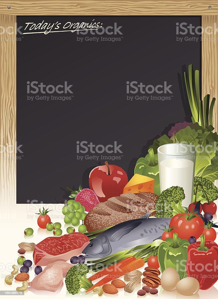 Healthy Food Staples with Menu Blackboard Vector royalty-free stock vector art