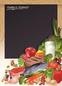 Healthy Food Staples with Menu Blackboard Vector