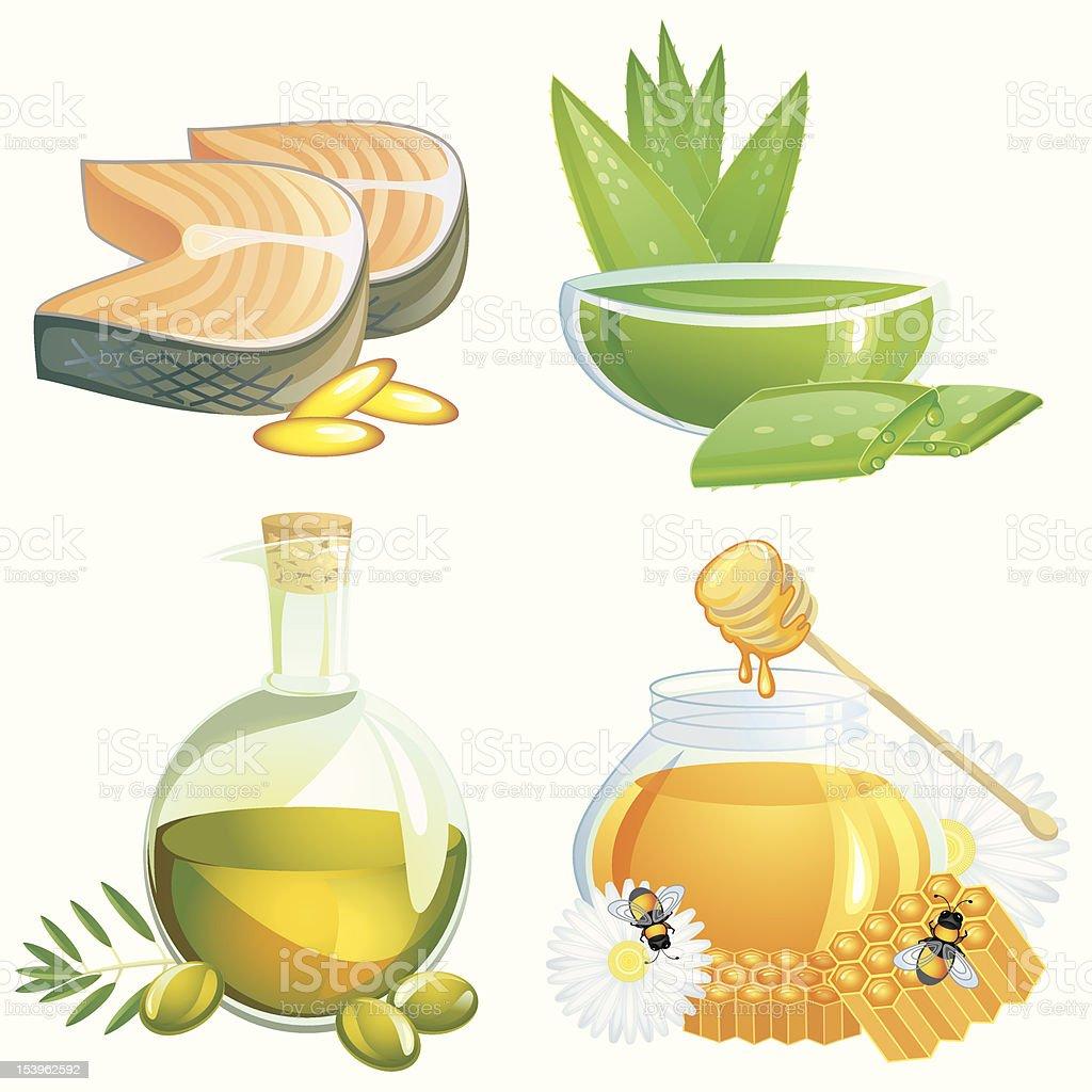 Healthy food supplements vector art illustration