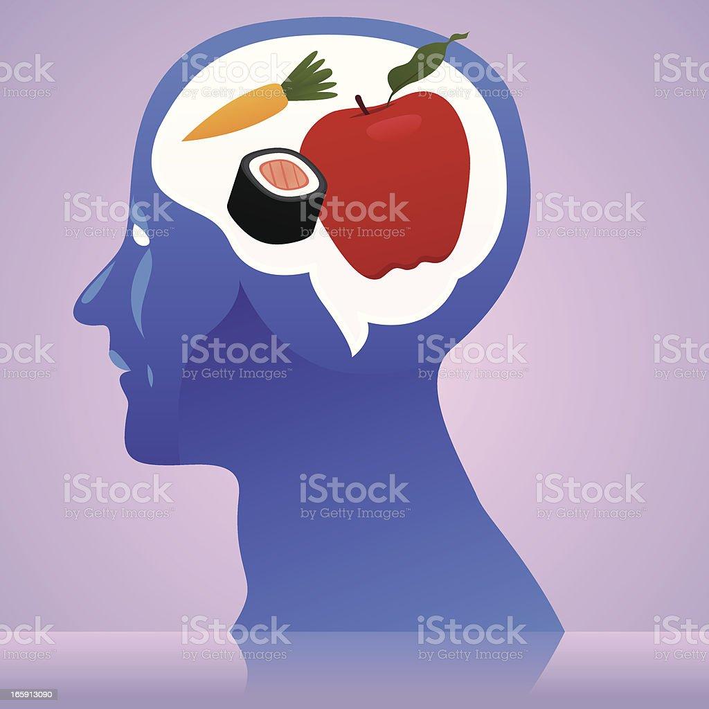 Healthy food thinking vector art illustration