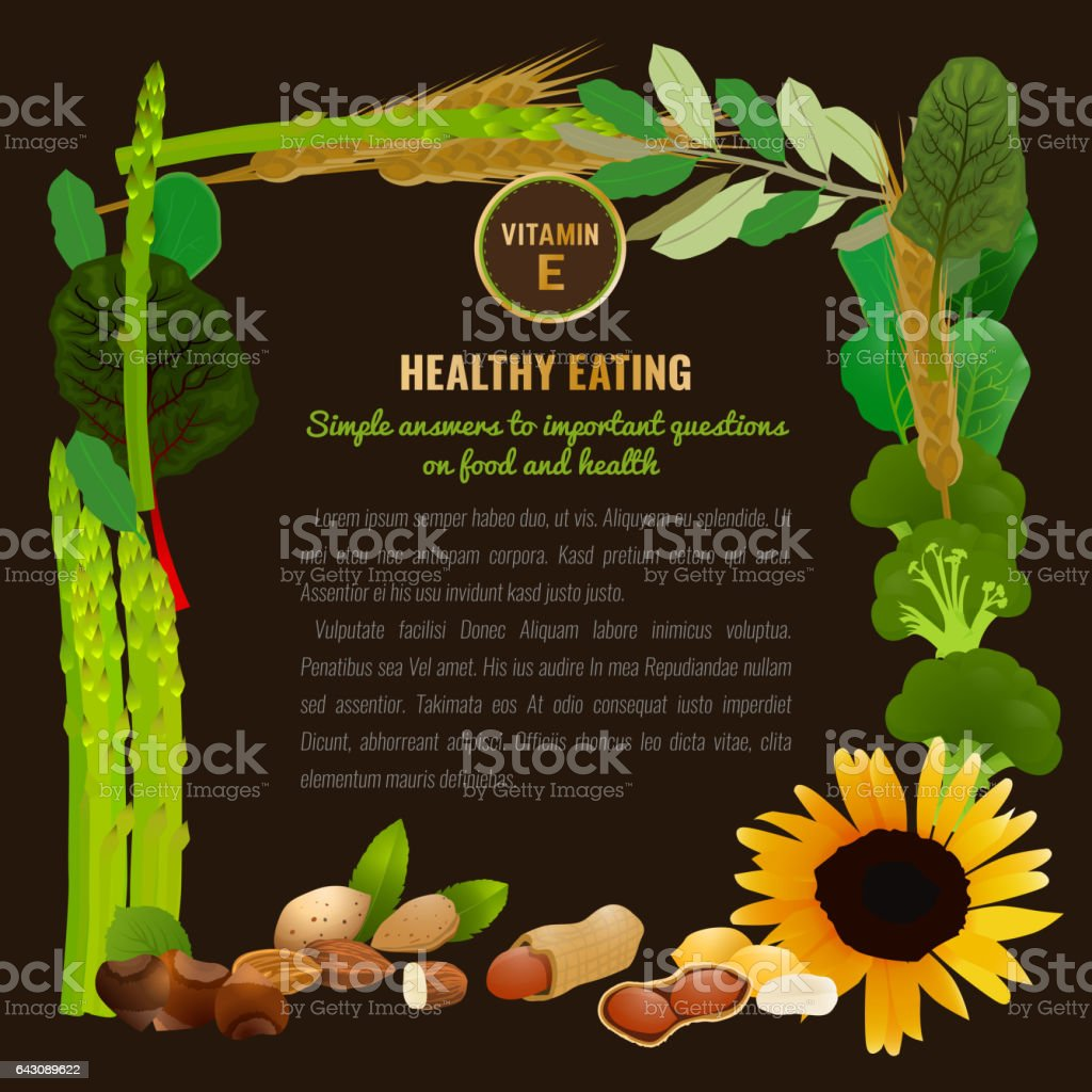Healthy Food Vitamin E Banner vector art illustration