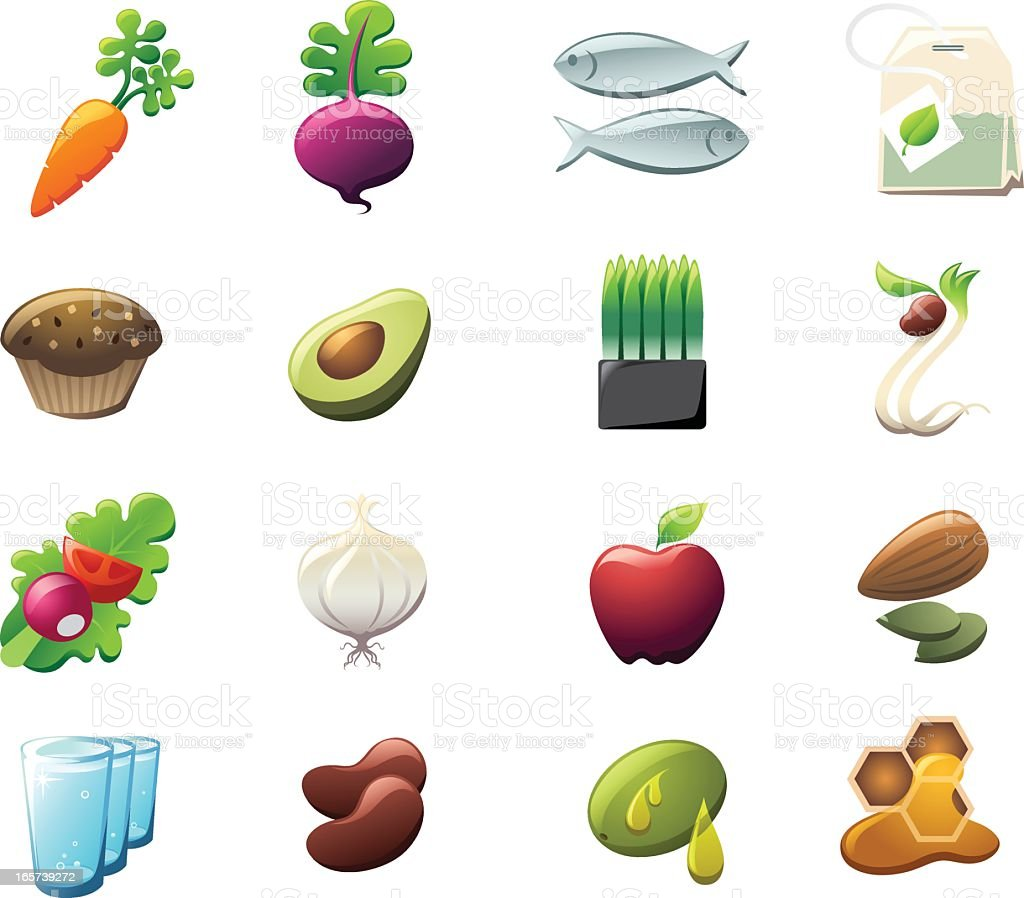 Healthy Foods Icons vector art illustration