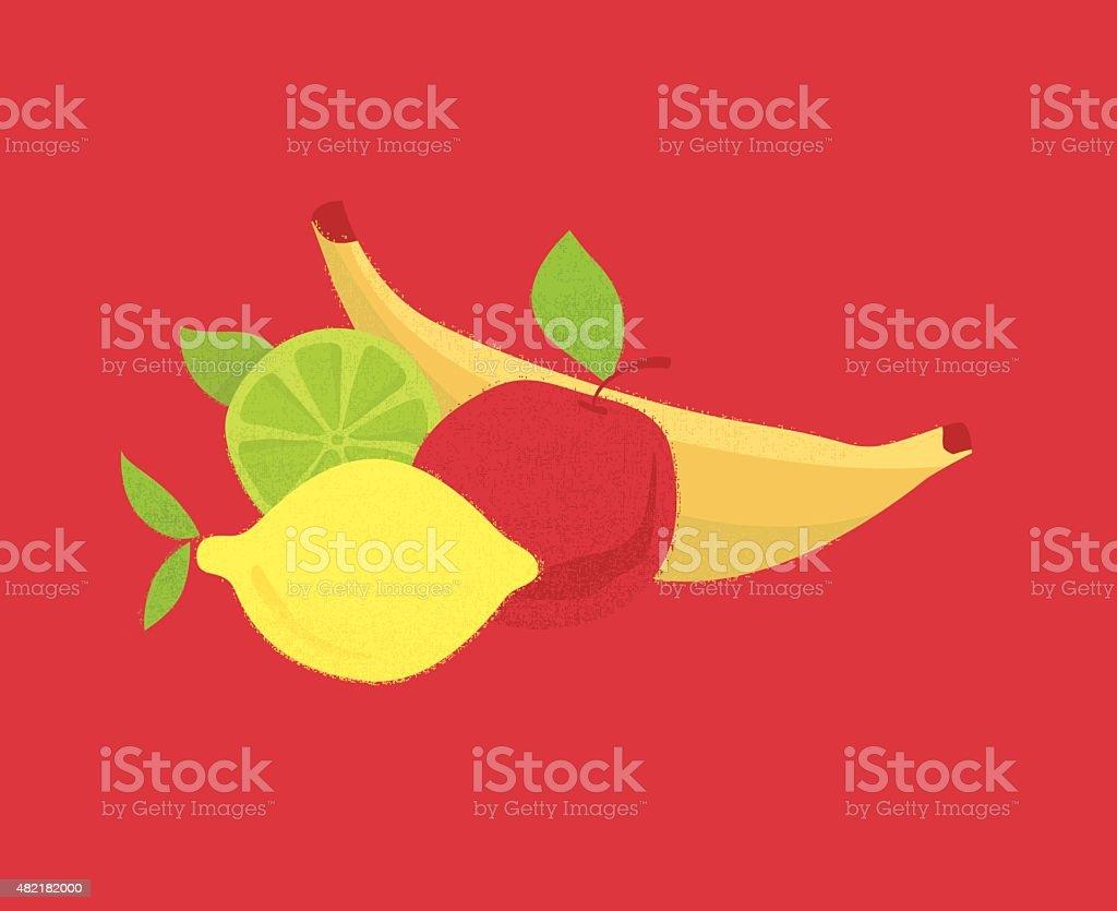 Healthy Fresh Colorful Fruit vector art illustration