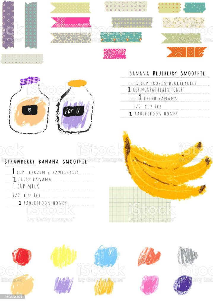 Healthy fresh smoothies recipes plus Collection of  Washi Tape Stripes vector art illustration