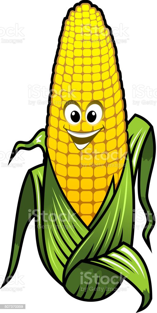 Healthy fresh yellow corn vegetable on the cob royalty-free stock vector art