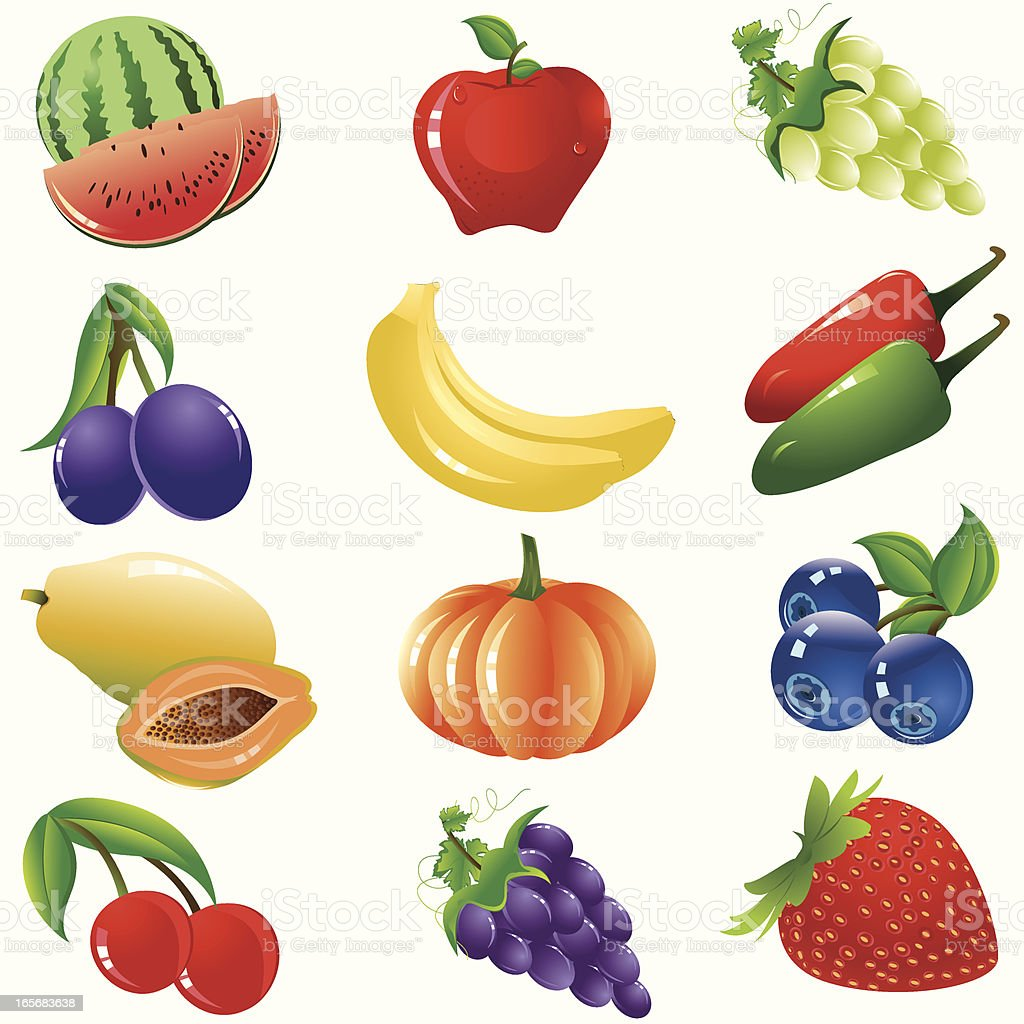 Healthy Fruits And Vegetable Icon Set royalty-free stock vector art