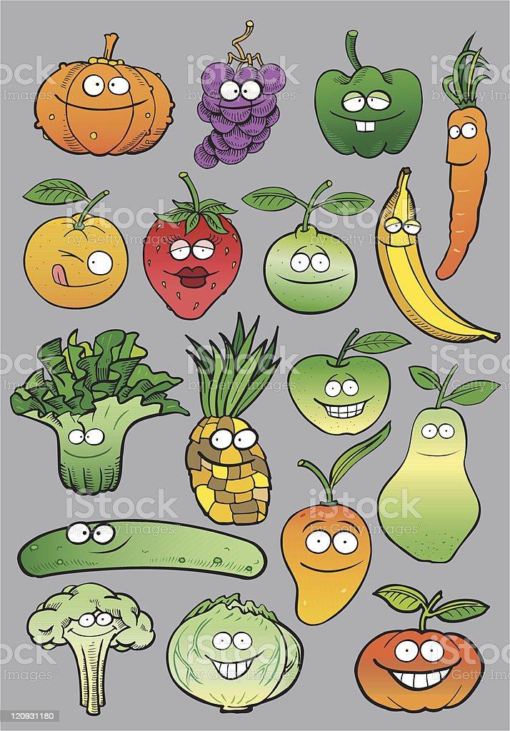 Healthy Fruits vector art illustration