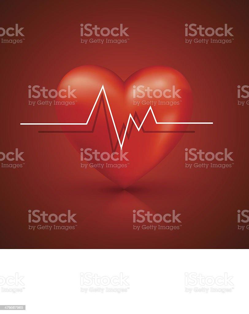 Healthy heart beat vector art illustration
