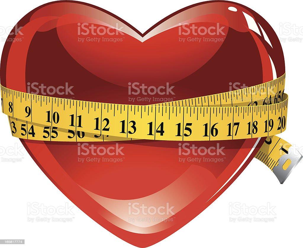 Healthy heart & tape measure vector art illustration