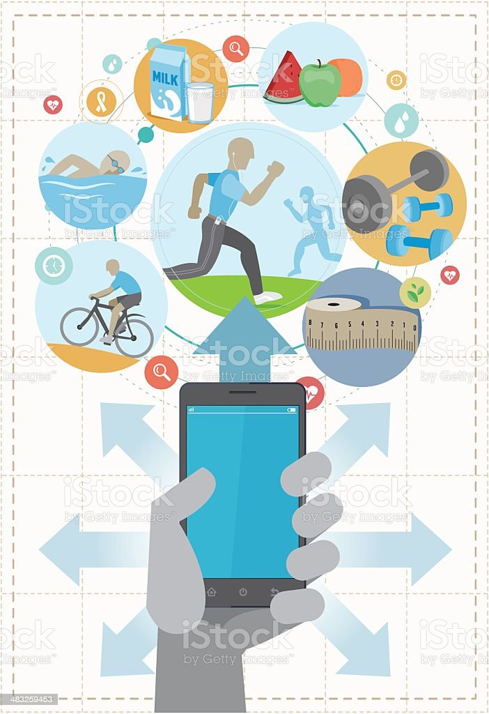 Healthy life smartphone royalty-free stock vector art
