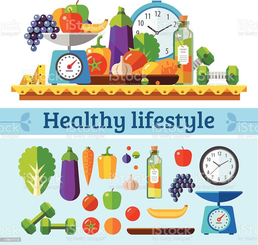 Healthy lifestyle, a healthy diet and daily routine vector art illustration