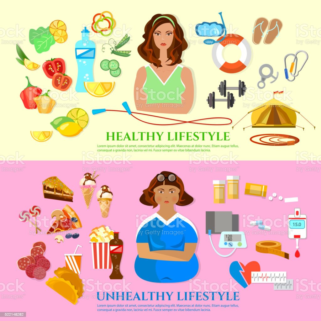 Healthy lifestyle and unhealthy lifestyle banner vector art illustration