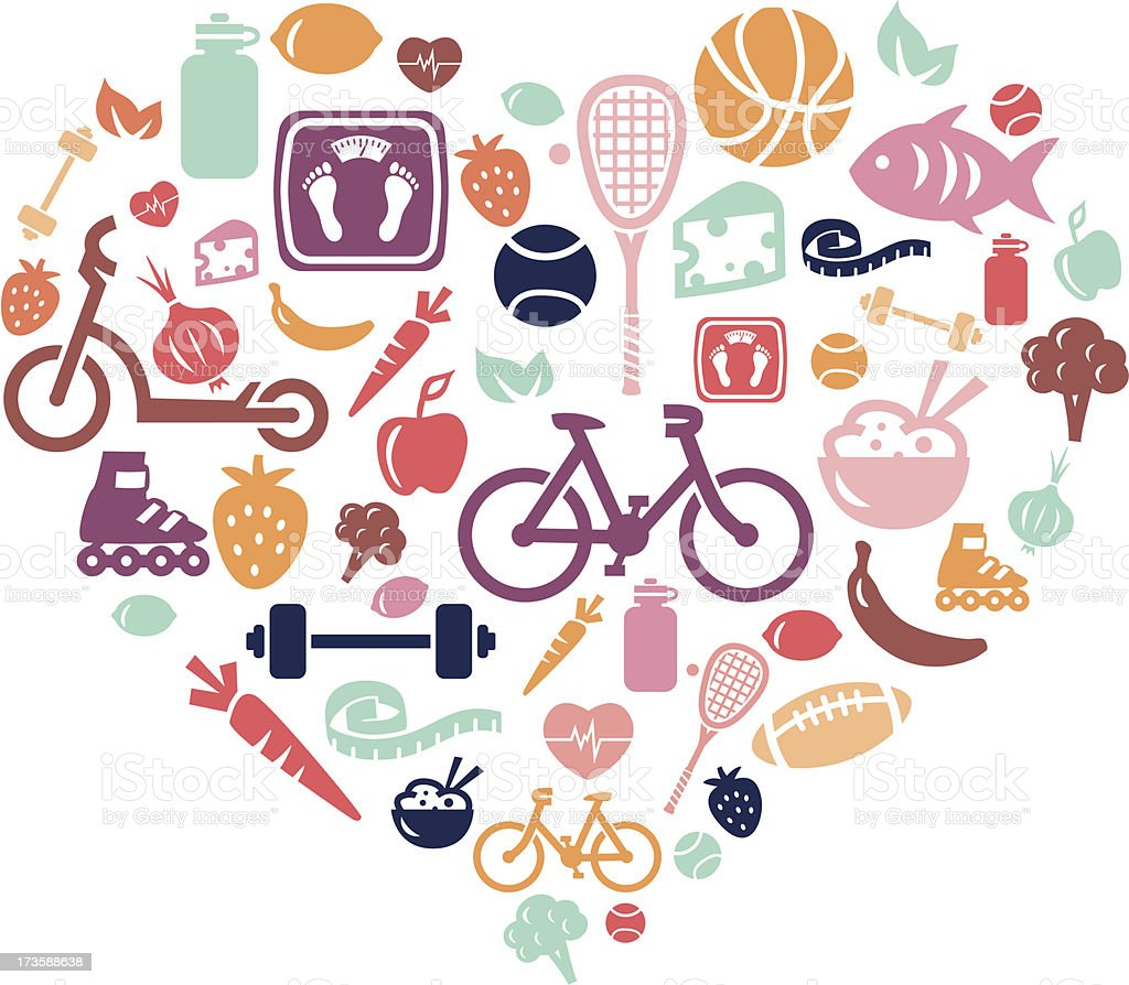 Healthy Lifestyle Background vector art illustration