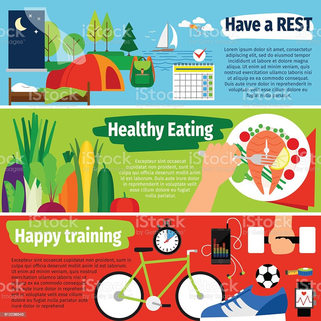 Healthy lifestyle banners vector art illustration
