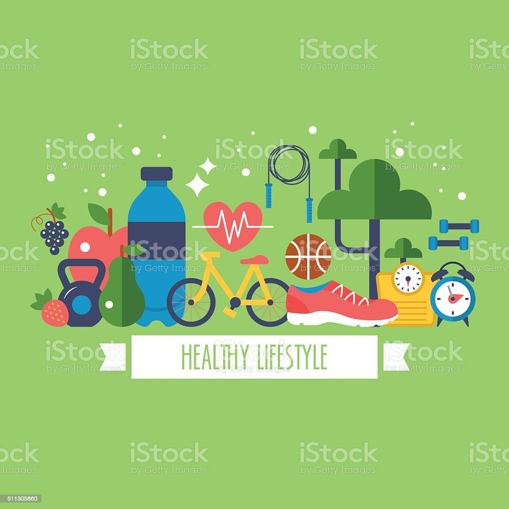 Healthy lifestyle concept with food and sport icons vector art illustration