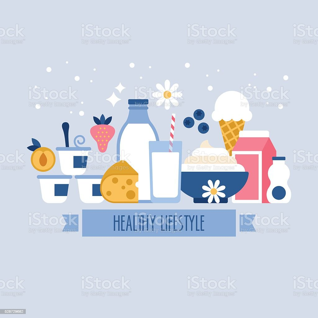 Healthy lifestyle concept with milk and dairy products icons vector art illustration