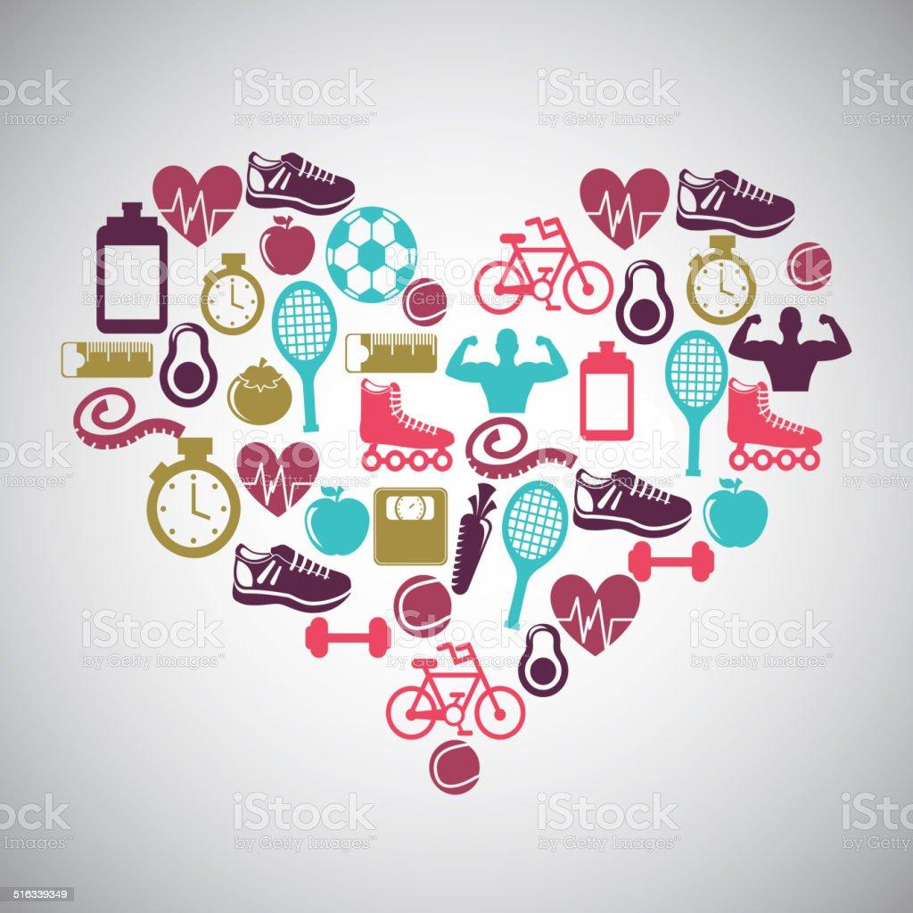 healthy lifestyle design vector art illustration